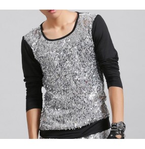 Black silver sequins long sleeves glitter fashion men's male competition stage performance singer jazz dj night club bar punk dancing tops t shirts