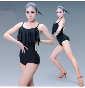 Black spandex ruffles neck spaghetti straps backless competition exercises gymnastics latin salsa cha cha dance leotards bodysuits