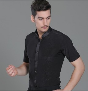 Black stand collar printed short sleeves men's male competition performing latin salsa ballroom dance shirts tops