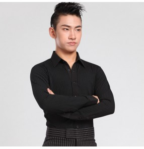 Black striped fashion down collar men's male competition performance latin jive ballroom tango waltz dance shirts tops