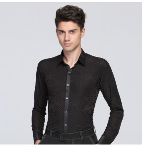Black striped rose floral long sleeves turn down collar men's male competition stage performance ballroom latin cha cha jive dancing shirts tops