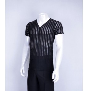 Black striped see through v neck short sleeves men's male competition ballroom latin cha cha jive waltz dance shirts tops
