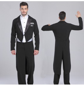 Black tuxedo blazer coat white shirts black long pants 3in1 sets mens' fashion competition stage performance ballroom tango waltz latin dancing outfits costumes sets