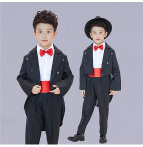 Black tuxedo coats white shirts boys kids children stage performance magician pianist bar club cos play singer dancing outfits costumes