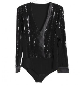 Black v neck long sleeves sequins paillette competition stage performance latin ballroom salsa cha cha dancing leotards tops shirts