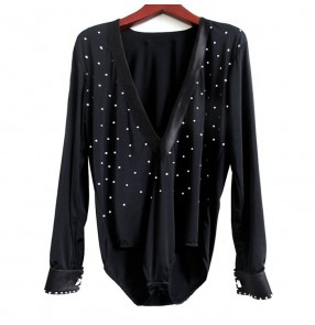 Black v neck rhinestones long sleeves  boys kids children school play stage performance competition leotards shirts tops