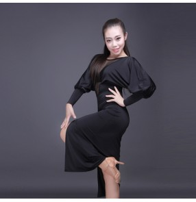Black v neck see through front split loose sleeves sexy women's ladies competition performance salsa latin dance dresses costumes outfits