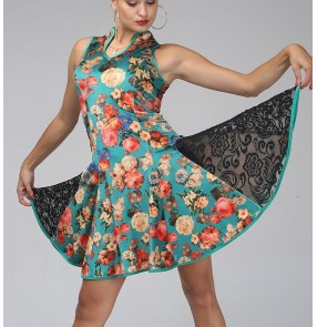 Black velvet and  green flowers lace patchwork sleeveless competition performance women's ladies professional latin salsa cha cha dance dresses