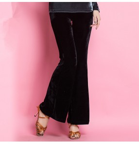 Black velvet long length women's ladies competition practice latin ballroom dancing pants trousers