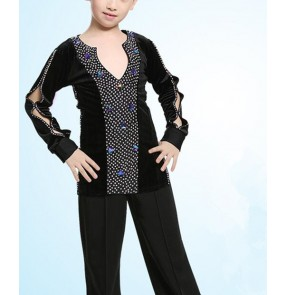 Black velvet rhinestones competition v neck long sleeves boys kids children school play ballroom latin dance tops shirts