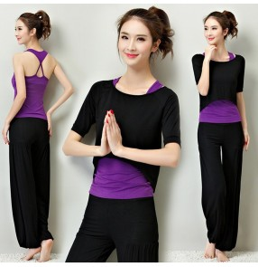 Black violet  light pink and black 3in1 women's girls modal sports fitness gyms jogging running workout yoga gymnastics clothes costumes