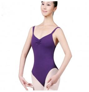 Black violet sleeveless backless women's ladies competition gymnastics exercises pratice ballet latin dance leotards bodysuits