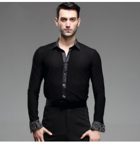 Black white circled printed down collar and cuffs men's man male competition stage performance long sleeves ballroom latin jive chacha tango dancing shirts tops