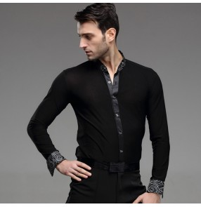 Black white circled printed long sleeves stand collar men's male competition professional latin ballroom tango cha cha dance shirts tops
