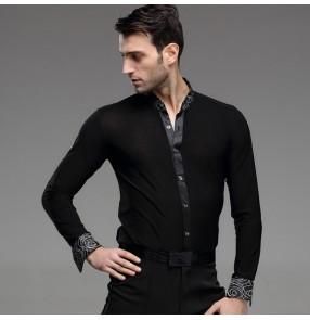 Black white circled printed long sleeves stand collar men's male competition professional latin ballroom tango cha cha dance shirts tops