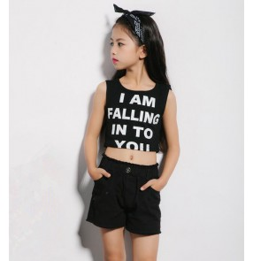 Black white cotton material fashion kids children boys girls school competition hip hop jazz cosplay dance costumes outfits