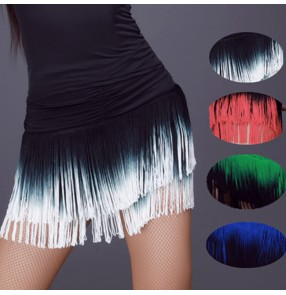 Black white green royal blue red gradient colored fringes tassels competition girls women's latin cha cha dance skirts