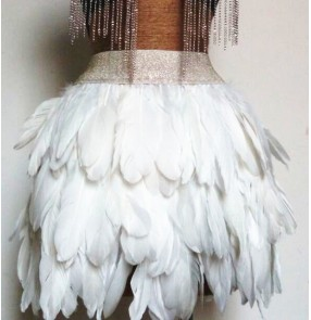 Black white ivory feather layers women's girls night club party cos play singer jazz ds dj bar dancing plume plumage skirts