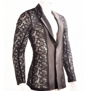 Black white lace see though lapel collar long sleeves men's male competition professional stage performance ballroom latin dance shirts tops