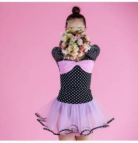 Black white polka dot pink ruffles skirt girls children competition performance latin salsa cha cha dance dresses outfits set