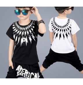 Black white printed summer fashion boys kids children school competition sports casual hip hop dance outfits