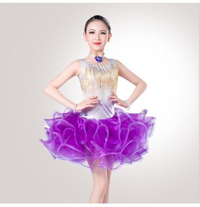 Black white purple fringes diamond girls kids children school competition rhinestones practice latin salsa cha cha dance dresses outfits