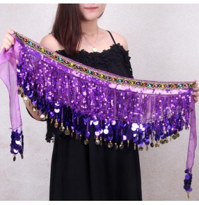 Black white purple violet turquoise orange coins sequins fringes women's belly dance triangle waist belt  band hip scarf skirts
