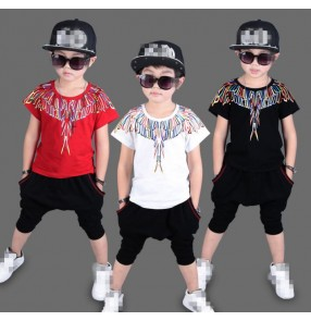 Black white red rainbow printed fashion boys kids children school contest performance hip hop drummer performance outfits