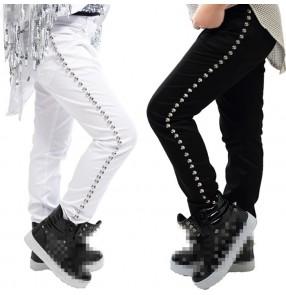 Black white rivet fashion boys kids children baby jazz singer hip hop drummer performance dancing pants trousers