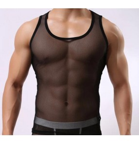 Black white see through mesh sexy men's male  performance night club jazz singers hot dance underwear vests  t shirt tops