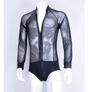 Black white see through sexy men's male competition performance spandex v neck latin ballroom tango dance leotards tops shirts