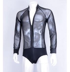 Black white see through sexy men's male competition performance spandex v neck latin ballroom tango dance leotards tops shirts