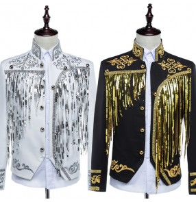 Black white silver with gold Embroidery European pattern sequins fringes Palace men's male stage performance host singer jazz Spanish club dancing jackets coats tops