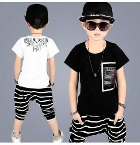 Black white striped fashion boys children competition school performance hip hop jazz dance t shirt harem pants