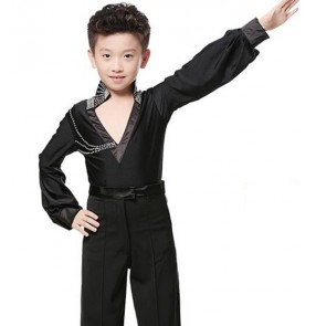 Black white v neck long sleeves spandex rhinestones boys kids children school play competition latin ballroom dance tops shirts