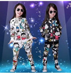 Black white with cartoon printed girls kids children kindergarten stage performance hip hop school play dancing outfits costumes