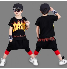 Black white with flame printed fashion short sleeves loose sports boys kids jazz hip hop dance outfits costumes
