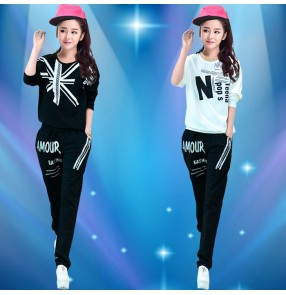 Black white with printed pattern fashion women's girls stage performance hip hop jazz party dancing outfits costumes