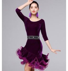 Black wine royal blue fuchsia red hot pink velvet half sleeves competition stage performance women's ladies latin salsa cha cha dance dresses