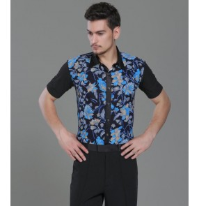 Black with blue leaves printed down collar men's male competition short sleeves performing ballroom latin dance shirts tops