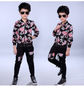 Black with fuchsia rose printed jazket fringes pants fashion boys kids children baby school competition jazz hip hop singer drummer  play dancing outfits costumes