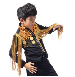 Black with gold lens rhinestones paillette sequins fringes fashion boys kids children drummer competition performance hip jop jazz dance tops jackets