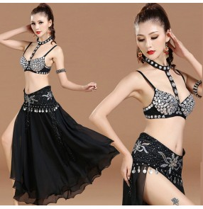Black with silver rhinestones bra with skirt and hip scarf waist chain sexy fashion women's Indian Egypt Belly dance costumes dresses
