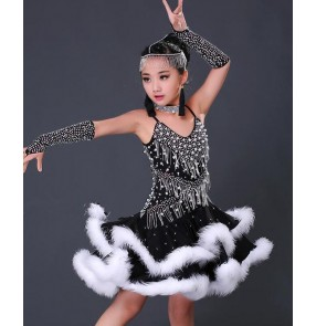 Black with white feather patchwork handmade competition girls kids children latin salsa ballroom dance dresses costumes