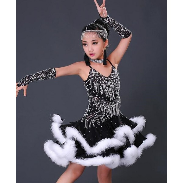 afdefc75f2d76 Black with white feather patchwork handmade competition girls kids children  latin salsa ballroom dance dresses costumes