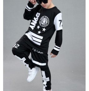Black with white pattern patchwork 4in1 boys kids children girls school stage performance competition hip hop modern jazz street dancing outfits