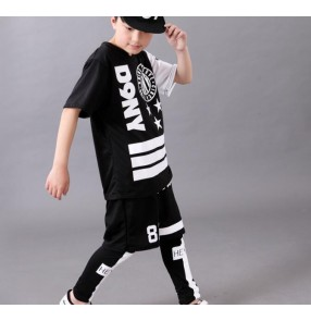 Black with white printed boys kids children fashion casual school play performance short sleeves modern dance hip hop  jazz dance costumes outfits