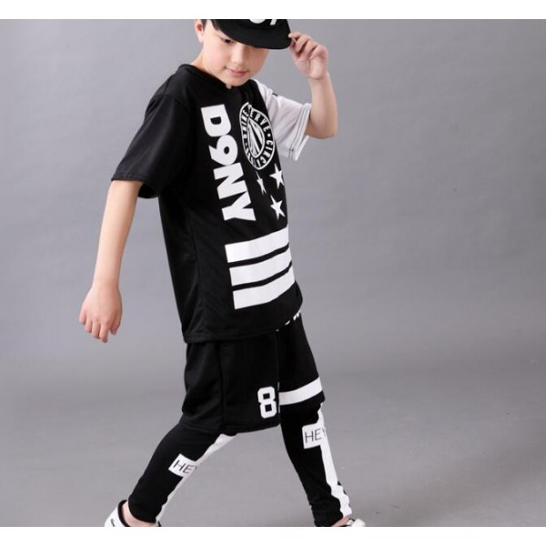 Black with white printed boys kids children fashion casual school play performance short sleeves ...