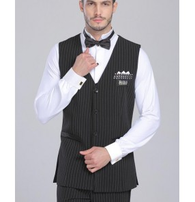 Black with white striped fashion men's male long length side split competition performance ballroom tango waltz  latin dance vests tops