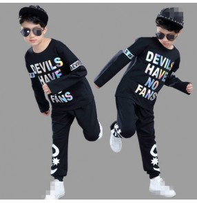 Black with white words fashion boys kids children long sleeves 2pcs in  one set school play hip hop jazz drummer party stage performance dancing outfits costumes